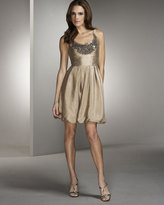 Lela Rose Beaded Linen-Silk Dress