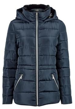 Dorothy Perkins Womens Navy Faux Fur Collar Padded Coat