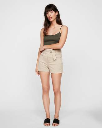 Express Super High Waisted Belted Stretch Shorts
