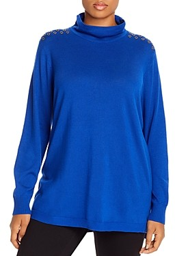 Joseph A Plus Grommet-Shoulder Mock-Neck Sweater
