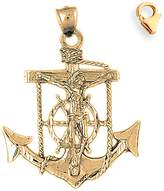 JewelsObsession Gold-Plated 925 Sterling Silver 45mm Mariners Cross/Crucifix Charm w/ Lobster Clasp