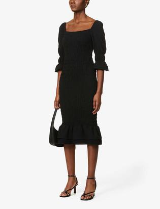 NEVER FULLY DRESSED Jojo ruffle trim cotton midi dress