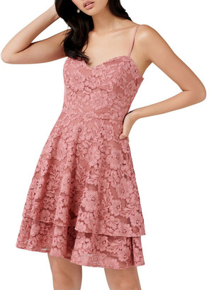 Forever New Annie Lace Soft Prom Dress Chestnut