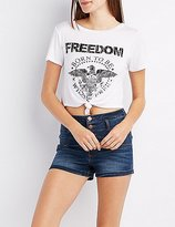 Charlotte Russe Freedom Cropped Knot Tee