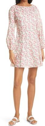 Rebecca Taylor Ikat Fleur Long Sleeve Cotton A-Line Dress