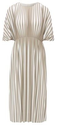 HUGO BOSS Empire-waist dress in two-tone plisse jersey
