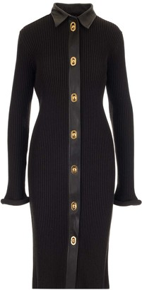Bottega Veneta Buttoned Ribbed Fitted Dress