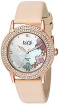 Burgi Women's BUR142NU Rose Gold Quartz Watch With Swarovski Crystal and Diamond Mother of Pearl Dial With Beige Leather Strap