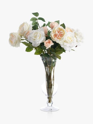 Peony Swimwear Artificial Rose in Waisted Glass Vase
