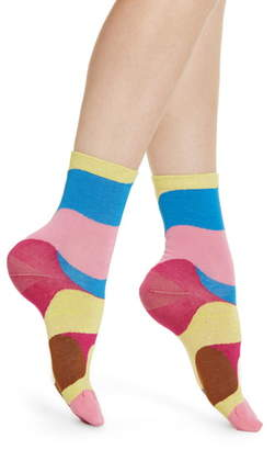 Hysteria By Happy Socks Alice Metallic Colorblock Ankle Socks