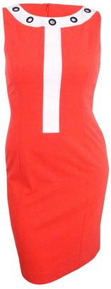 Nine West Women's Color Block Dress W/Grommets On Jewel Neckline