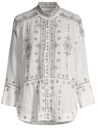 Johnny Was Bacup Embroidered Linen Blouse