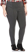 Intro Plus Faux-Leather Piping Double Knit Pull-On Legging