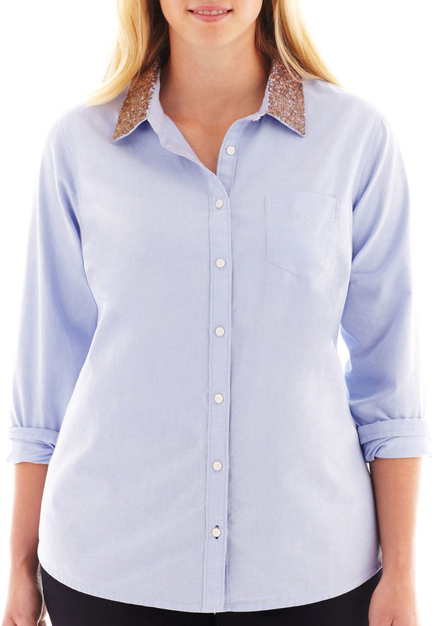 JCPenney jcp Long-Sleeve Embellished Oxford Shirt - Plus