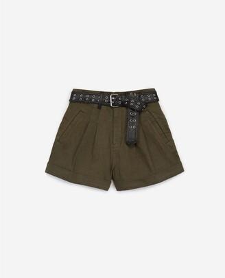 The Kooples High-waist khaki cotton shorts with belt