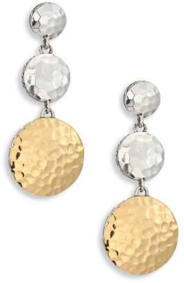 John Hardy Dot Hammered 18K Yellow Gold & Sterling Silver Triple Drop Linear Earrings