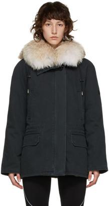 Yves Salomon Army Black Down and Fur Twill Coat