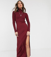 Asos Tall DESIGN Tall long sleeve high neck rib midi dress with slinky hem