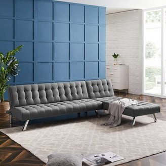"Latitude Run 66.14"" Reversible Sleeper Sofa & Chaise Upholstery Color: Grey"