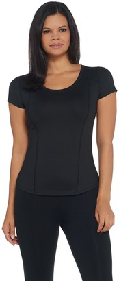 Susan Lucci Collection Scoop Neck Cap Sleeve Top w/ Seam Detail