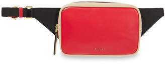 Marni Two-tone Faux Leather And Shell Belt Bag