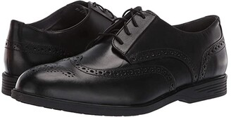Hush Puppies Shepsky Wing Tip Oxford (Black Leather) Men's Dress Flat Shoes