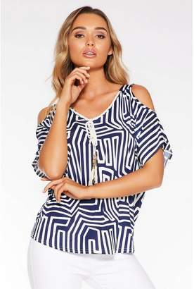 Quiz Navy and Cream Abstract Cold Shoulder Top