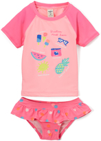 Osh Kosh Pink Vacation Rashguard Top & Bikini Bottoms - Toddler & Girls
