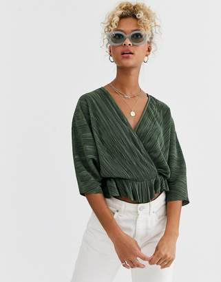 Asos Design DESIGN plisse wrap top with tie waist in khaki-Green