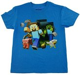 Minecraft Boys Keep Running Steve T-Shirt ( 8, Turquoise Heather)