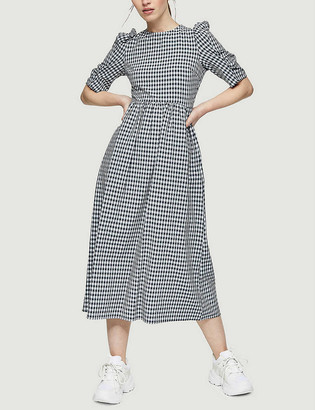 Topshop Gingham-print stretch-woven smock midi dress