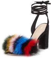 Loeffler Randall Nicolette Fur Pouf Sandal, Multi/Black