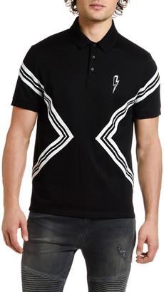Neil Barrett Men's Varsity Striped Polo Shirt