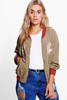 Boohoo Plus Gabriella Embroidered Bomber Jacket
