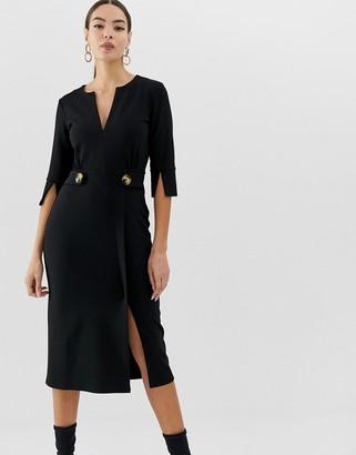 Asos Design DESIGN v neck midi pencil dress with button waist