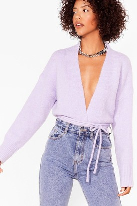Nasty Gal Womens Tie-ing Our Luck Fluffy Knit Cardigan - White - M/L