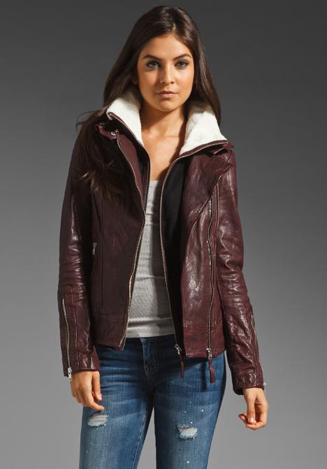 Mackage Distressed Leather Veruca Shearling Jacket