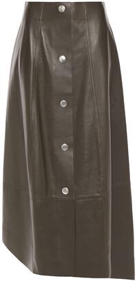 Victoria Beckham Asymmetric Snap-detailed Leather Midi Skirt