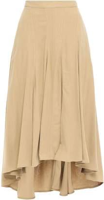 Masscob Ruffled Brushed Slub Silk Midi Skirt