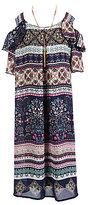 Xtraordinary Big Girls Plus 12.5-20.5 Printed Cold-Shoulder Shift Dress