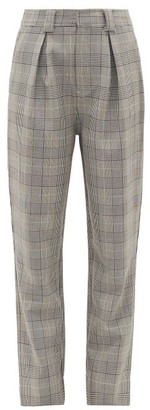 Ganni Prince Of Wales-check Tailored Trousers - Womens - Grey