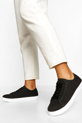 boohoo Wide Fit Basic Lace Up Canvas Trainers