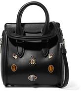 Alexander McQueen The Heroine Mini Embellished Leather Shoulder Bag - Black
