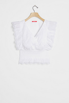 Anthropologie Joss Ruffled Crop Top By in White Size L