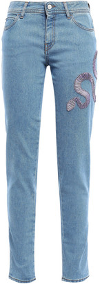 Just Cavalli Cropped Embroidered Mid-rise Slim-leg Jeans