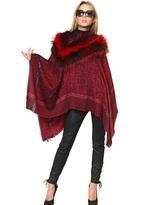 Roberto Cavalli Silver Fox Fur On Wool Jacquard Shawl