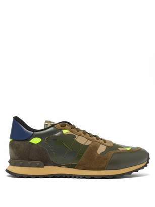 Valentino Rockrunner Camouflage Low Top Leather Trainers - Mens - Green