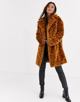 Asos Design DESIGN fluffy button through coat in chestnut