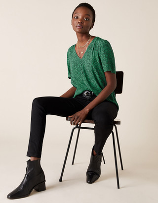 Monsoon Printed V-Neck Top with LENZING ECOVERO Green