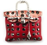 Avalaya Carrot Red Crystal Designer Bag Brooch (Silver Tone)
